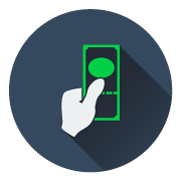 A flat icon for oasis vending website showing that you can use dollars to pay for items on their machines.