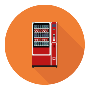 A flat icon depicting a vending machine that serves drinks, which is an option provided by Oasis Vending.