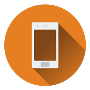 A flat icon of a cell phone used for oasis vending website