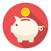 Piggy bank coin icon representing vending transactions with US change